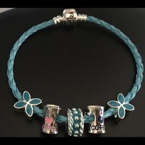 Pandora Blue Leather I Love Coffee Bracelet
